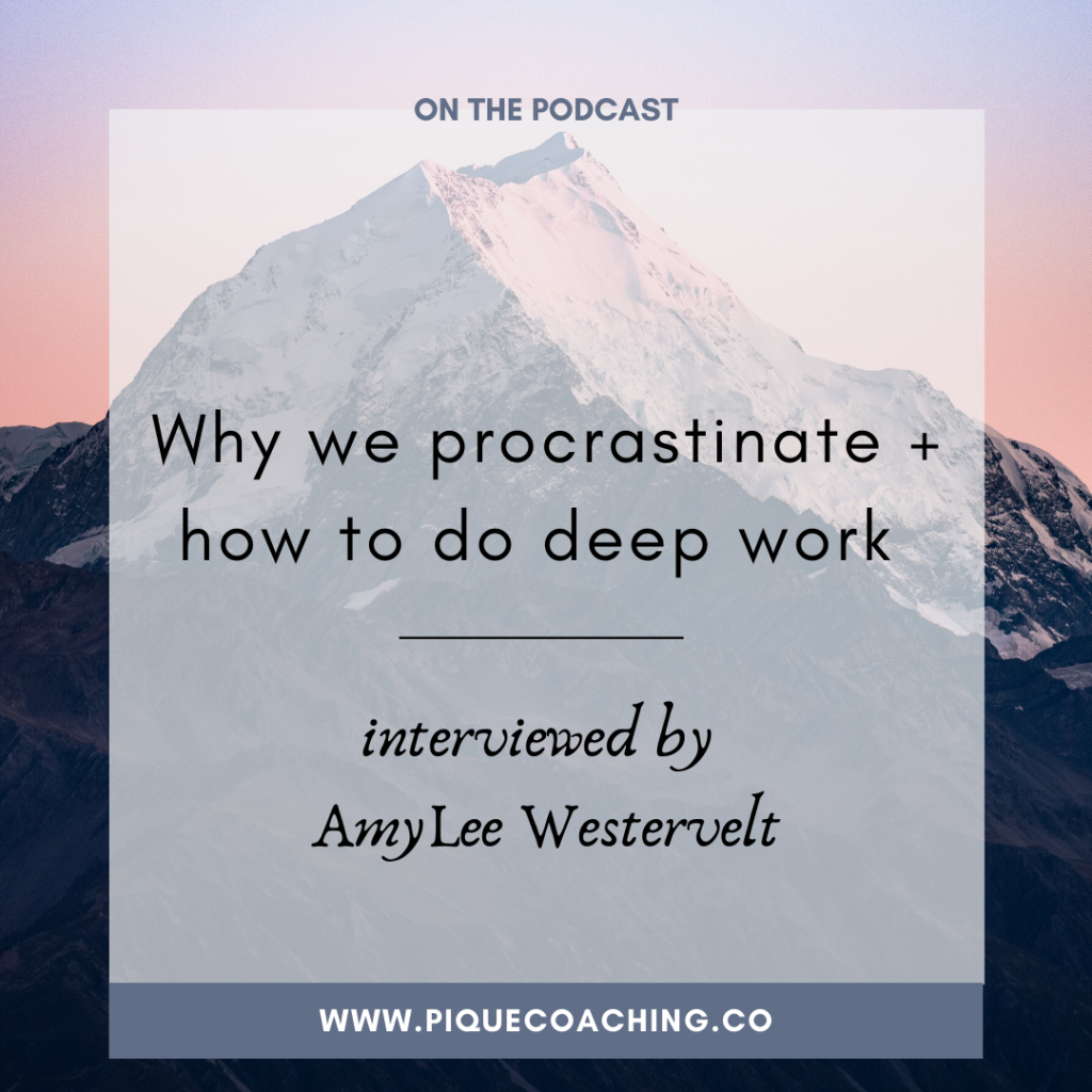 Why we procrastinate + how to do deep work (interviewed by AmyLee Westervelt)